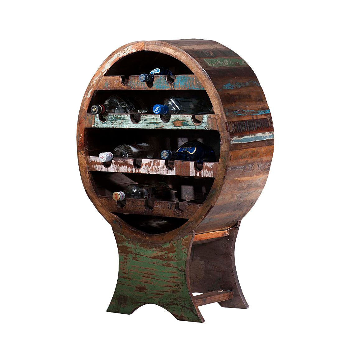 Weinregal Vintage - Recyclingholz - Bunt