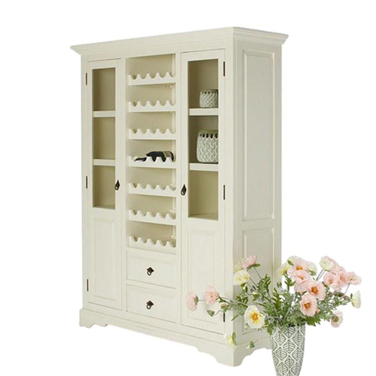 Weinschrank Capri - Pinie massiv - weiß lackiert