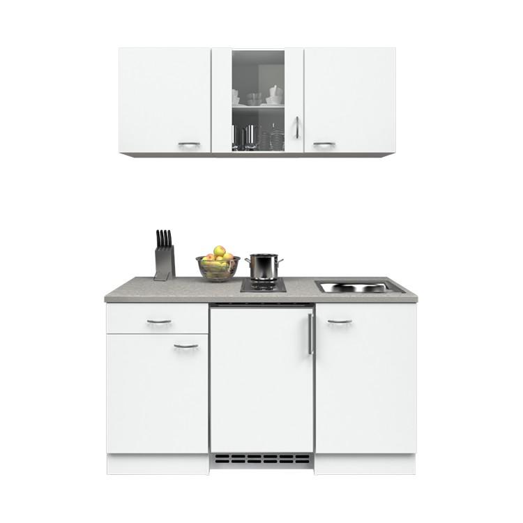 Küchenzeile Leon – Einbaugeräte – Spüle – 150 cm – Weiß / Weiß – Weiß / Weiß, Modus Küchen jetzt kaufen
