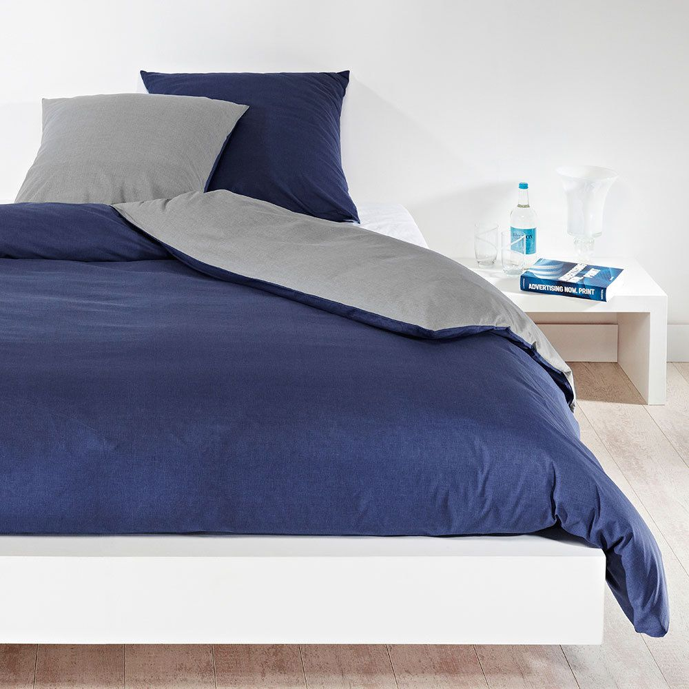 Wendebettwäsche hellgrau dunkelblau – Baumwolle – Blau – Kissenbezug einzeln 40×40 cm, Bettwaren-Shop bestellen