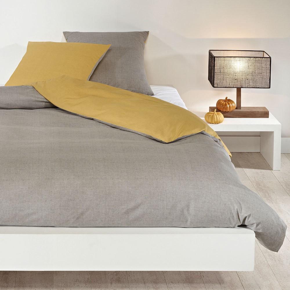 Wendebettwäsche hellgrau senfgelb – Baumwolle – Gelb – Bettbezug einzeln 155×220 cm, Bettwaren-Shop kaufen