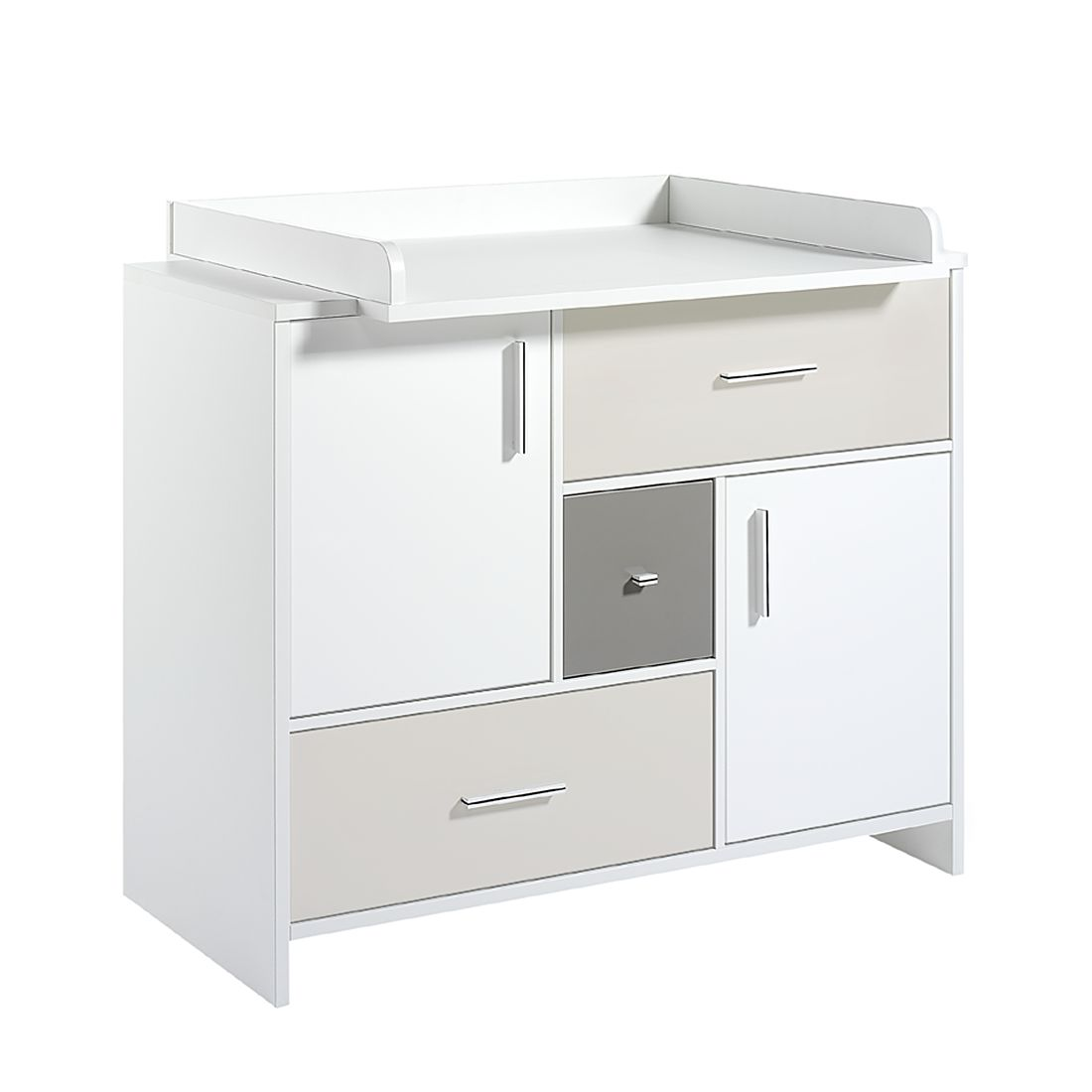 Wickelkommode CANDY - Weiß / Beige / Grau (Wickelkommode CANDY - Melamin Dekor - Dekor Weiß - MDF beige und grau lackiert)