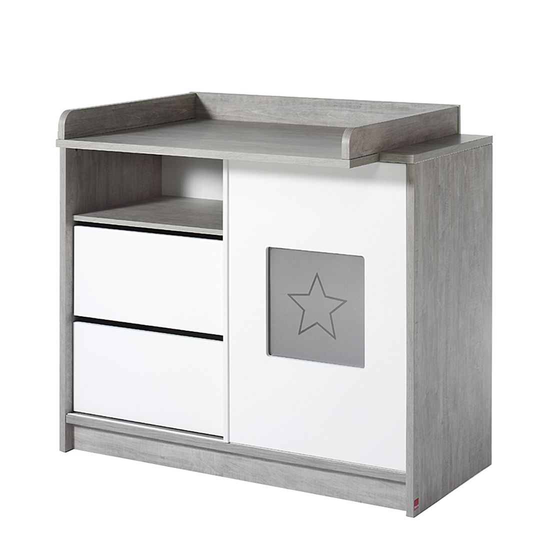 Wickelkommode ECO STAR - Driftwood/Weiß (Wickelkommode ECO - Melamin Dekor - Dekor Driftwood/Weiß - MDF weiß lackiert)