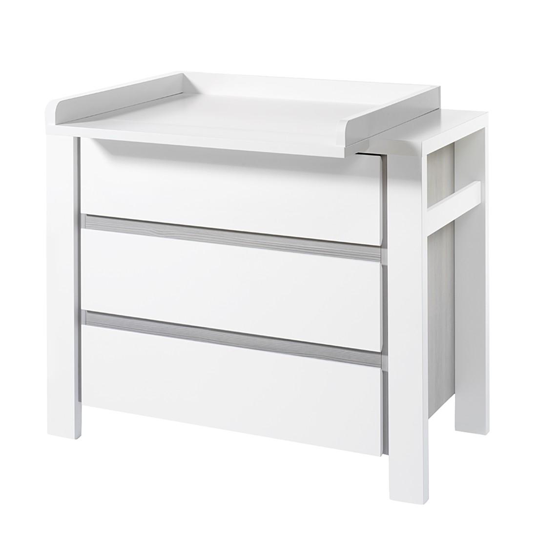 Wickelkommode MILANO -  Pinie Silber/Weiß
