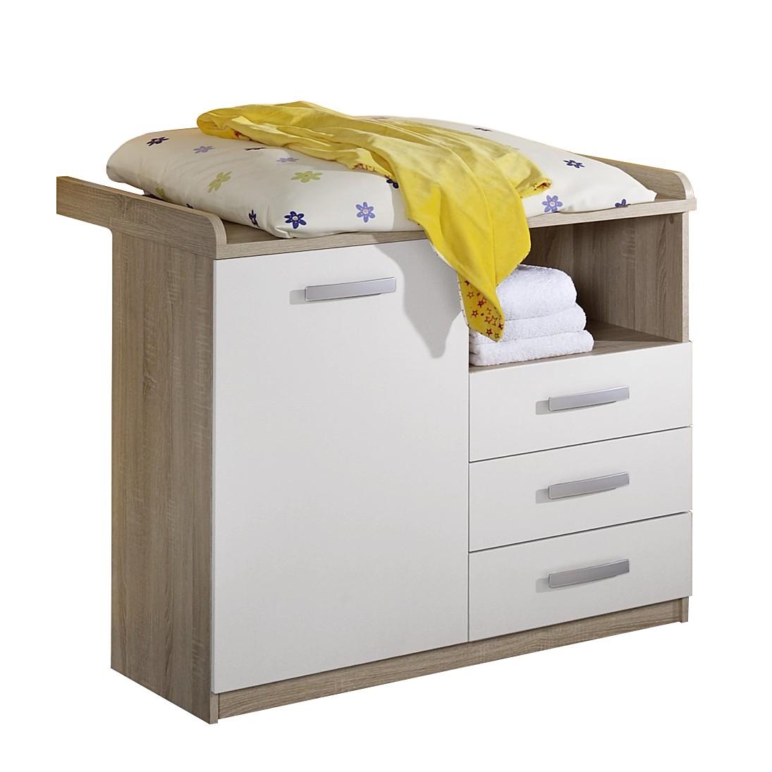 wickelkommode nici eiche s gerau wei matt ohne unterstellregal. Black Bedroom Furniture Sets. Home Design Ideas