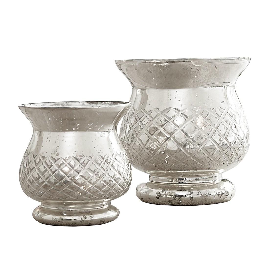 Windlicht Seray (2er-Set) – Glas – Silber, Loberon bestellen