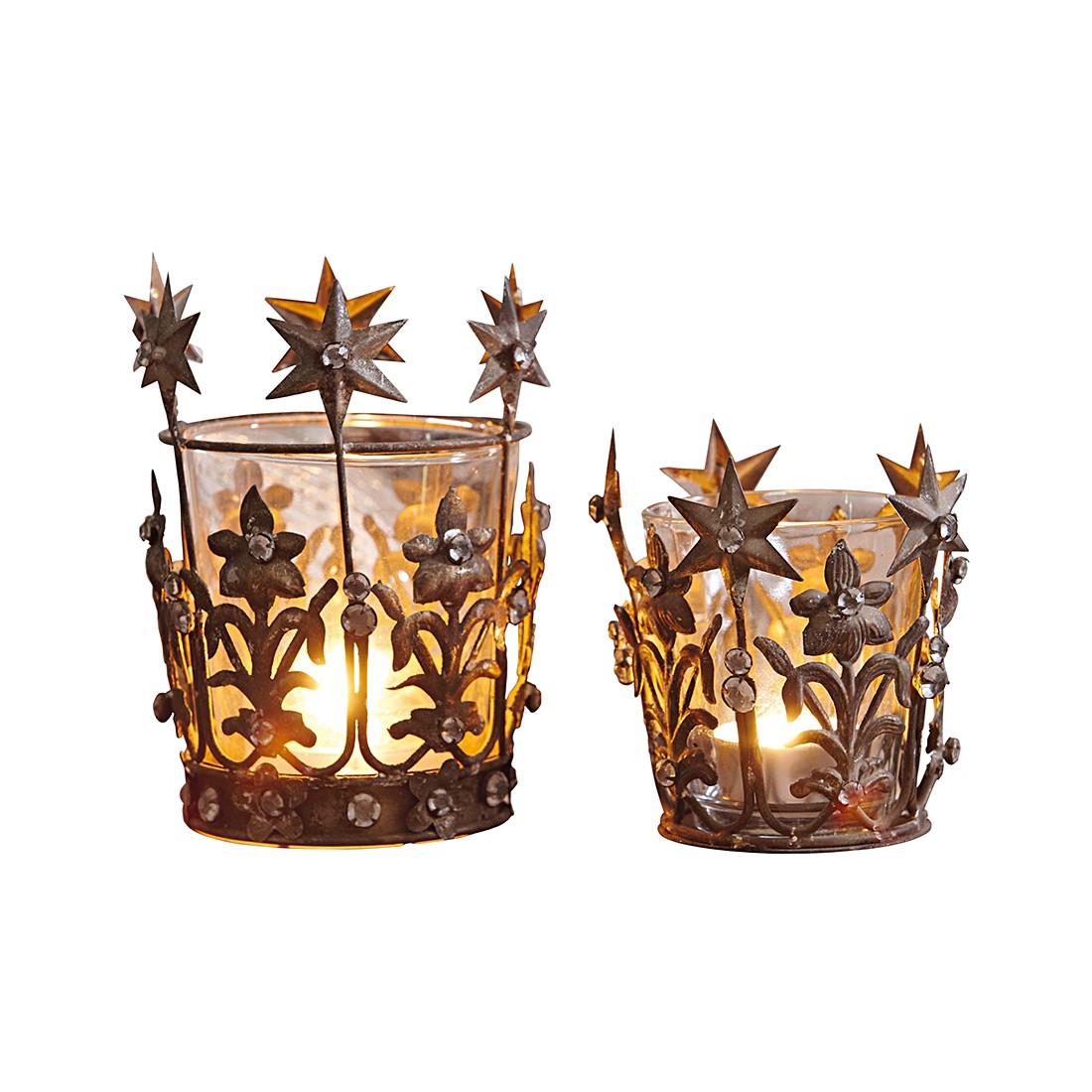 Windlichter 2er Set Starlight – Eisen/Glas antikgold, Loberon günstig bestellen