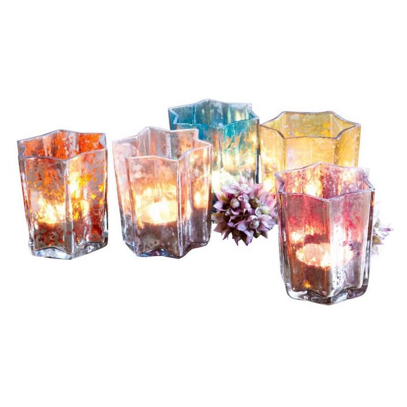 Windlichter 5er Set Bigarré – Glas bunt, Loberon günstig bestellen