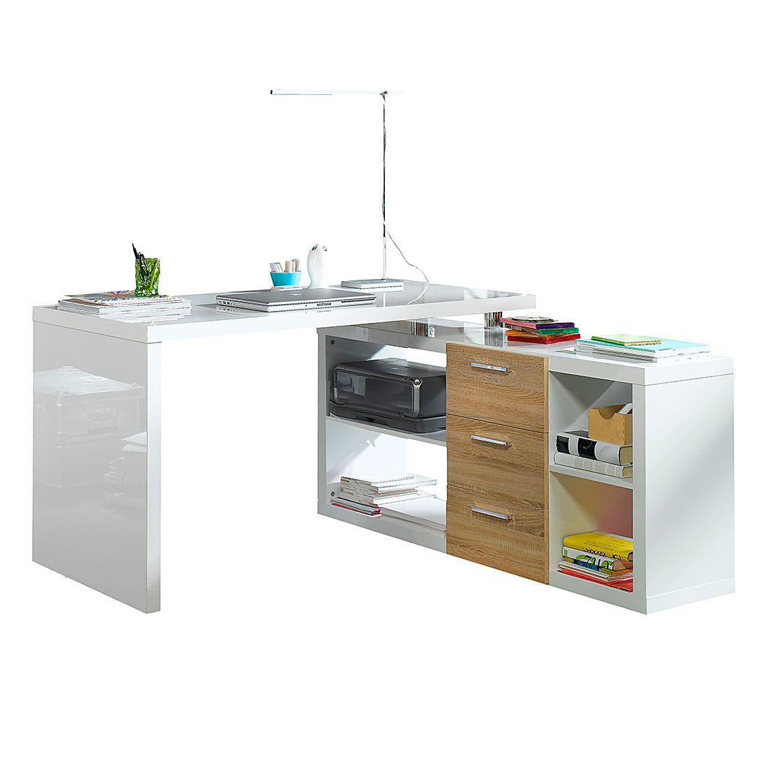 Winkelschreibtisch Madina - Hochglanz Weiß / Eiche Sonoma Dekor, home24 office