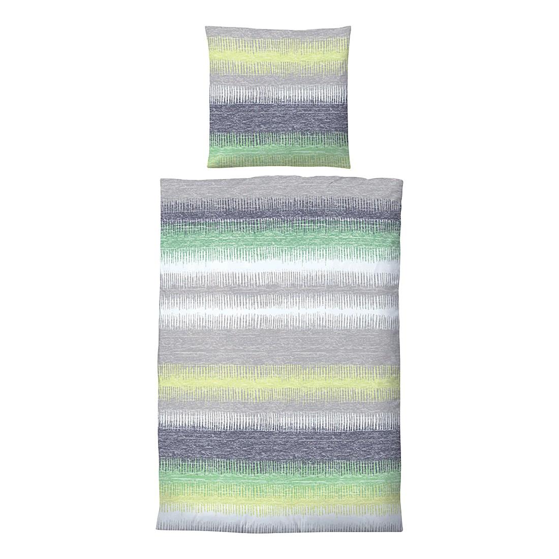 Winter-Soft-Seersucker Bettwäsche Charlotte – Grün – 135 x 200 cm + Kissen 80 x 80 cm, Biberna jetzt kaufen