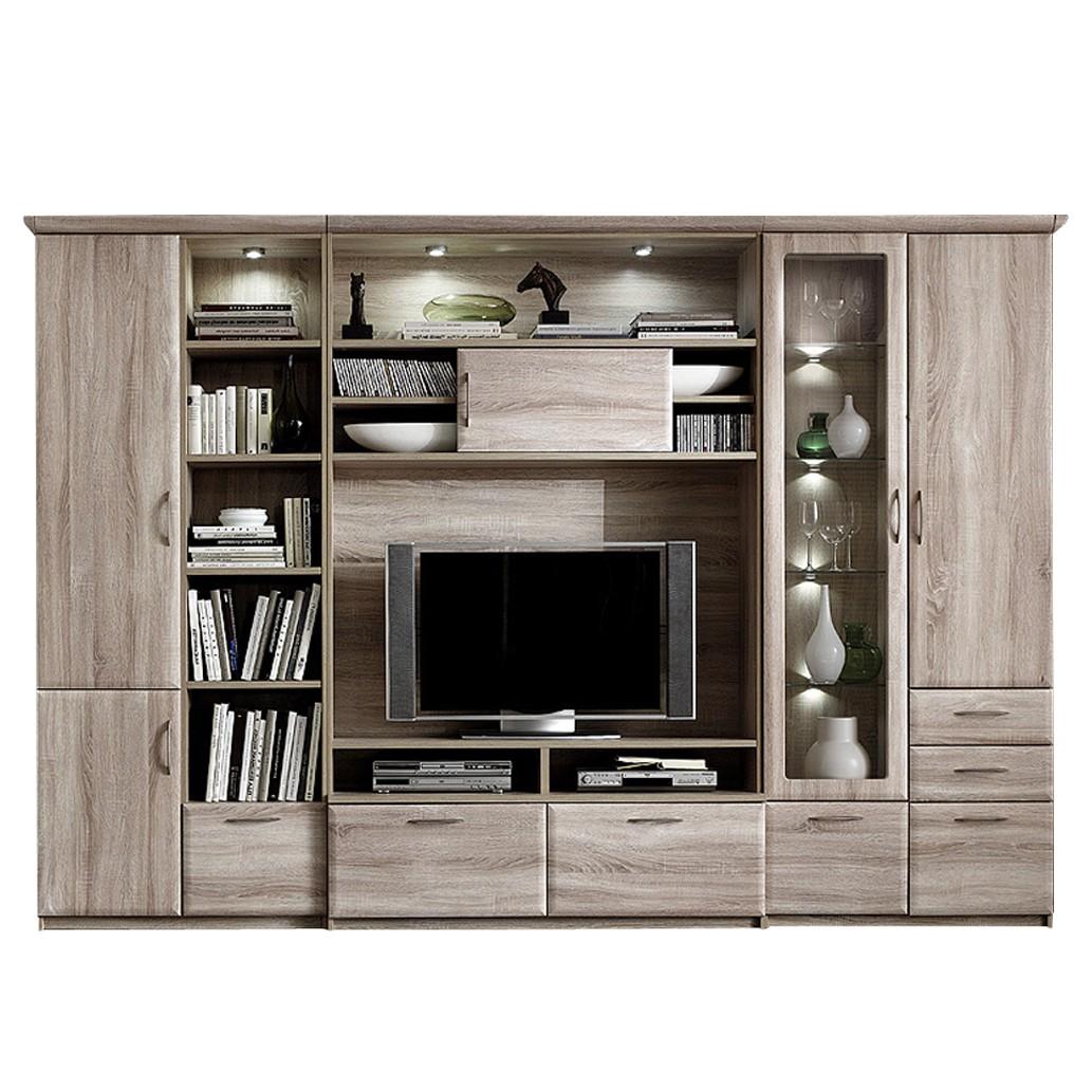 wohnkombination brixen glasvitrine rechts sonoma eiche dekor mit beleuchtung und. Black Bedroom Furniture Sets. Home Design Ideas