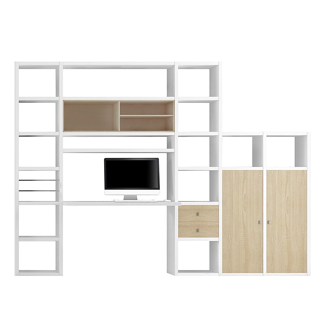Wohnkombination Emporior I - Eiche Dekor / Weiß, loftscape