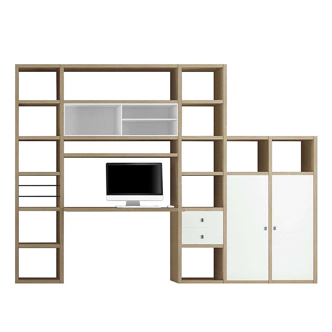 Wohnkombination Emporior I - Weiß / Eiche Dekor, loftscape