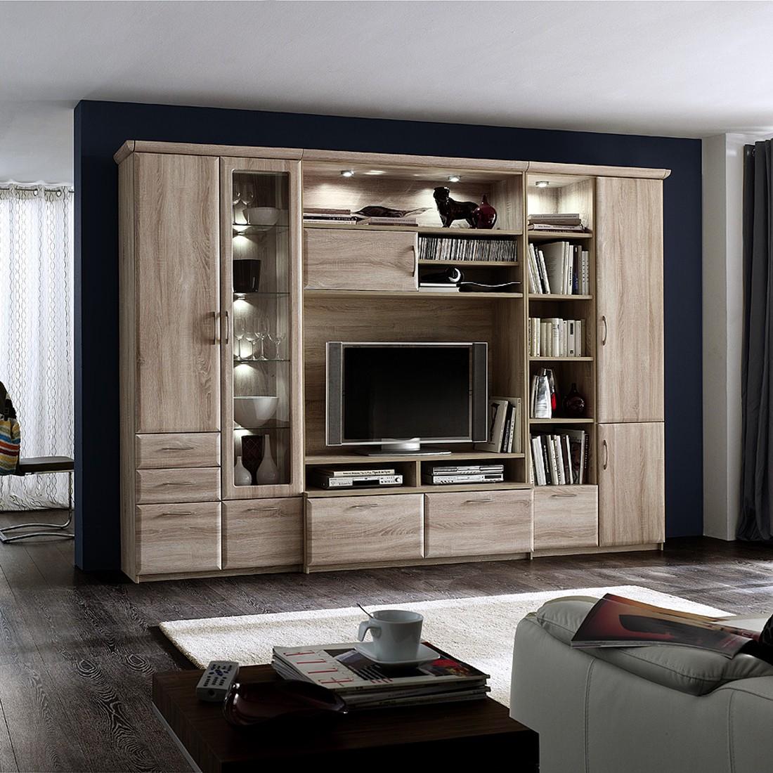 wohnkombinaton brixen glasvitrine links sonoma eiche dekor mit beleuchtung. Black Bedroom Furniture Sets. Home Design Ideas