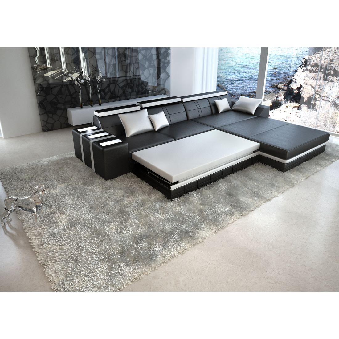 wohnlandschaft asti echtleder l form schwarz wei ausf hrung ottomane rechts sofa dreams. Black Bedroom Furniture Sets. Home Design Ideas
