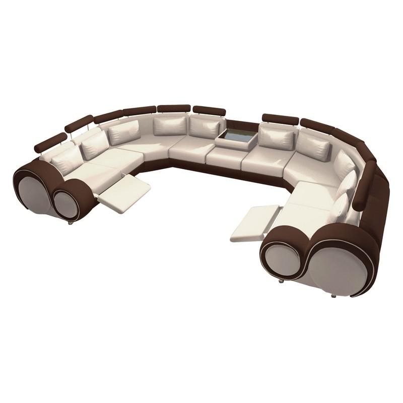 wohnlandschaft berlin iv kunstleder u form wei braun home24 g nstig online kaufen. Black Bedroom Furniture Sets. Home Design Ideas