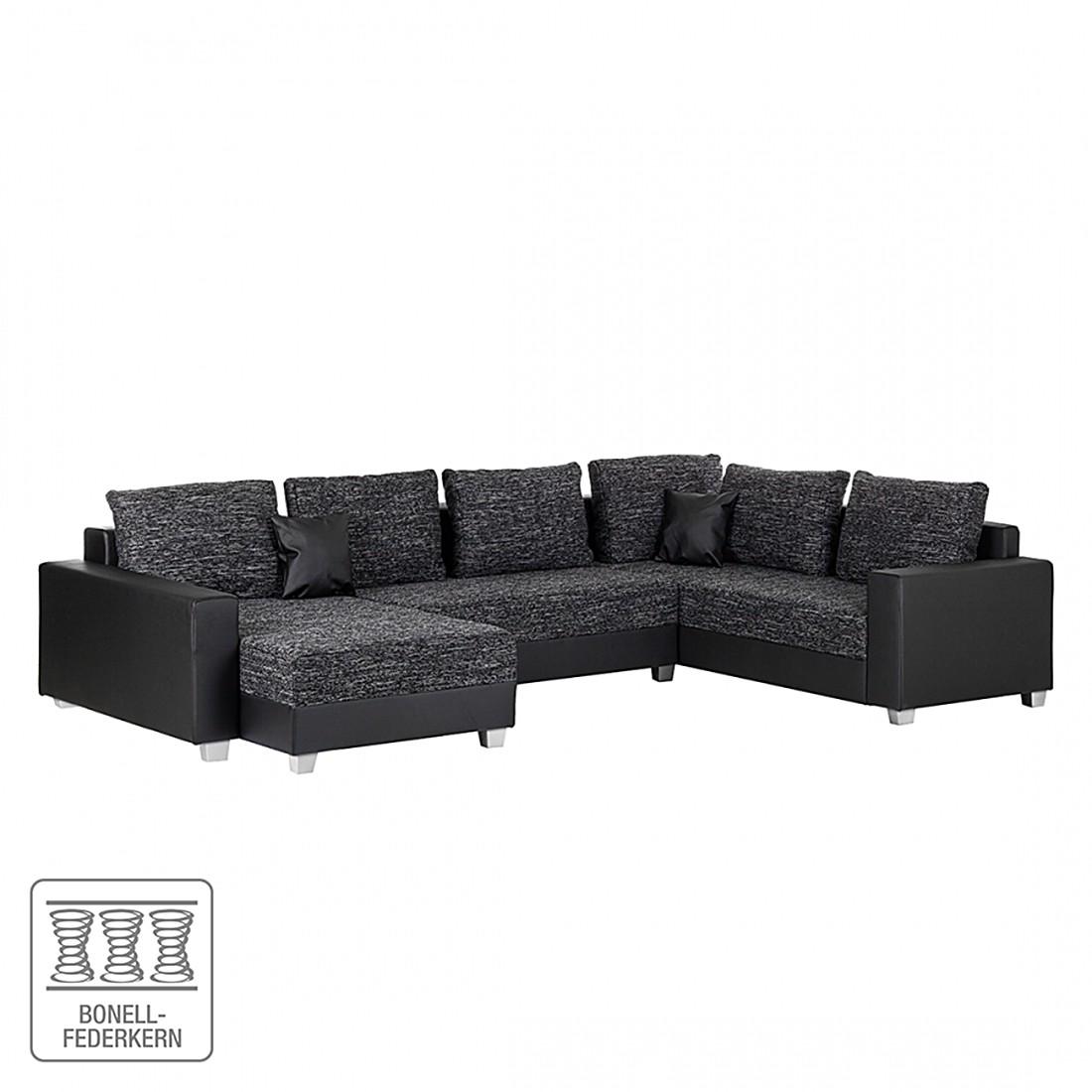 wohnlandschaft dublin mit schlaffunktion kunstleder schwarz strukturstoff grau roomscape. Black Bedroom Furniture Sets. Home Design Ideas