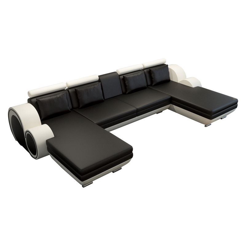ecksofa berlin vi kunstleder u form schwarz wei home24 g nstig. Black Bedroom Furniture Sets. Home Design Ideas