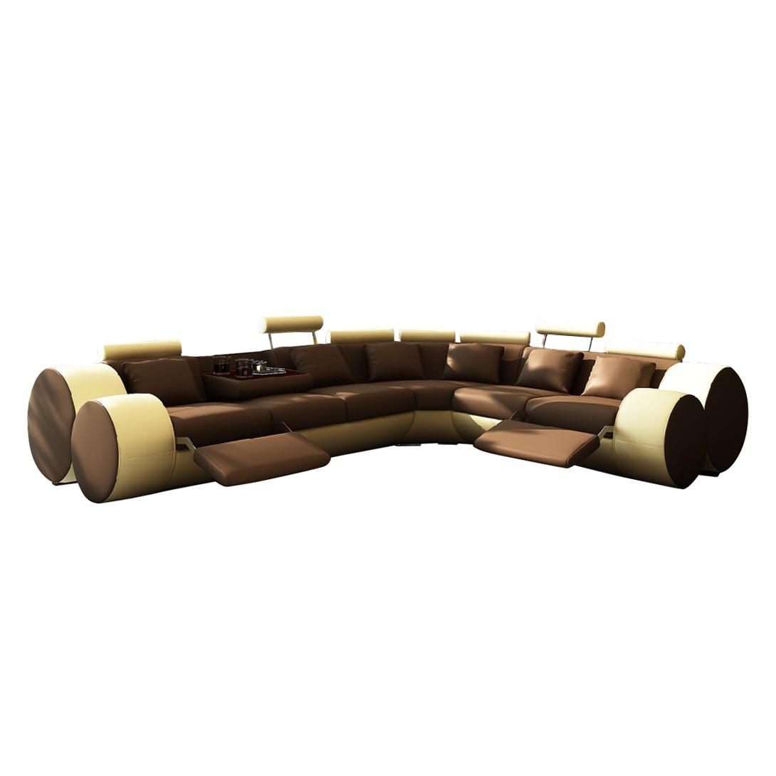Ecksofa Madrid – Kunstleder, L-Form, Braun/Beige – Ausführung: langer Schenkel rechts, home24 jetzt kaufen