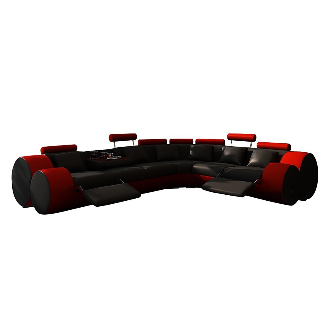 Ecksofa Madrid – Kunstleder, L-Form, Schwarz/Rot – Ausführung: langer Schenkel links, home24 jetzt bestellen