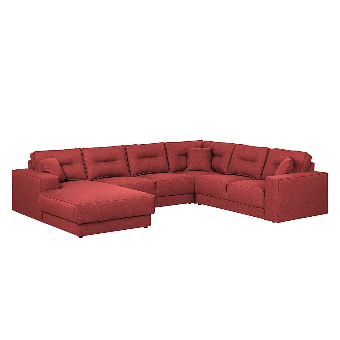 Wohnlandschaft Maplewood – Webstoff – Longchair davorstehend links – Rot, loftscape kaufen