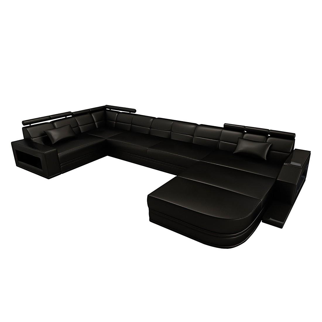 wohnlandschaft venedig echtleder schwarz schwarz ausf hrung ottomane rechts sofa dreams. Black Bedroom Furniture Sets. Home Design Ideas