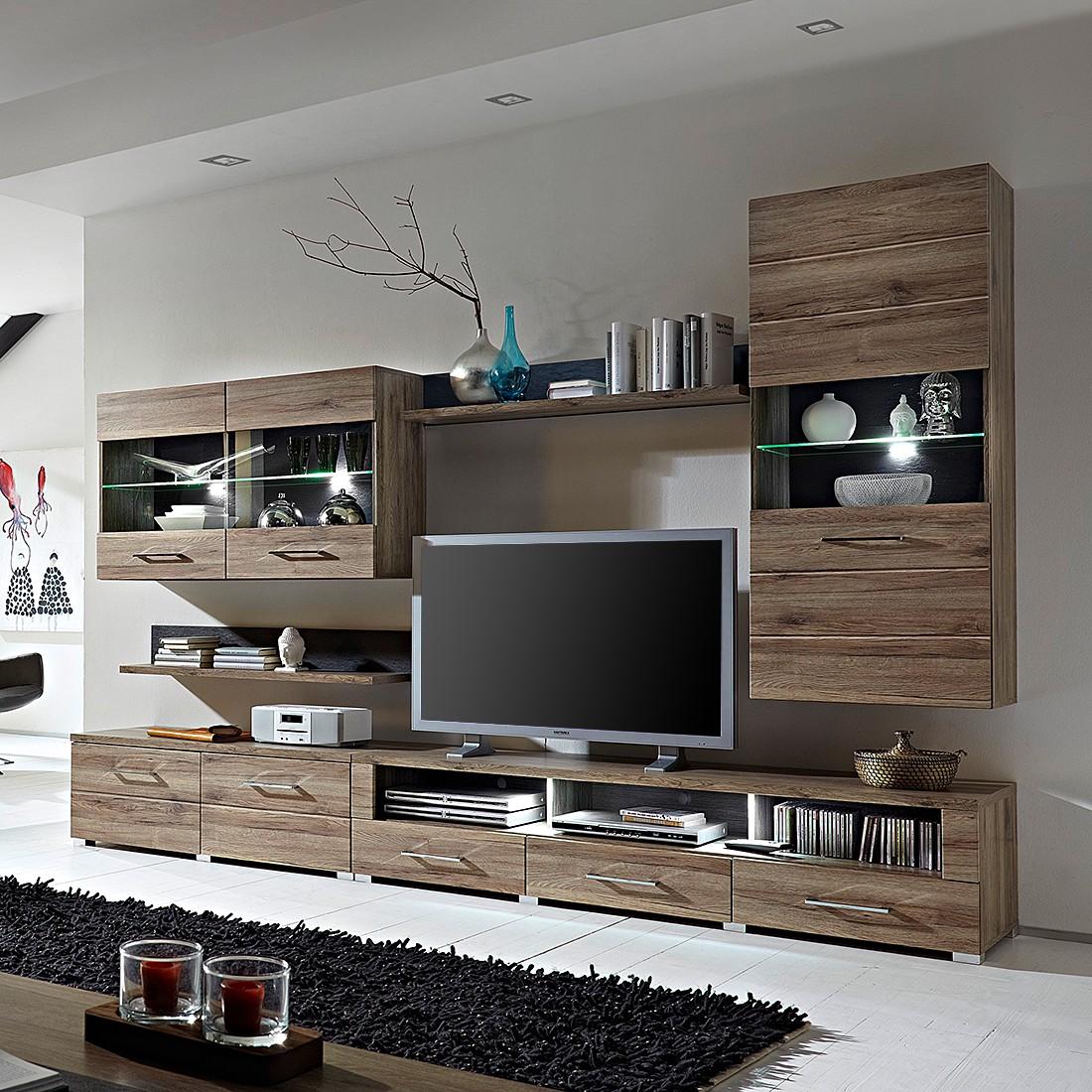 eek a wohnwand justin 5 teilig inklusive beleuchtung hochglanz wei eiche sonoma dekor. Black Bedroom Furniture Sets. Home Design Ideas
