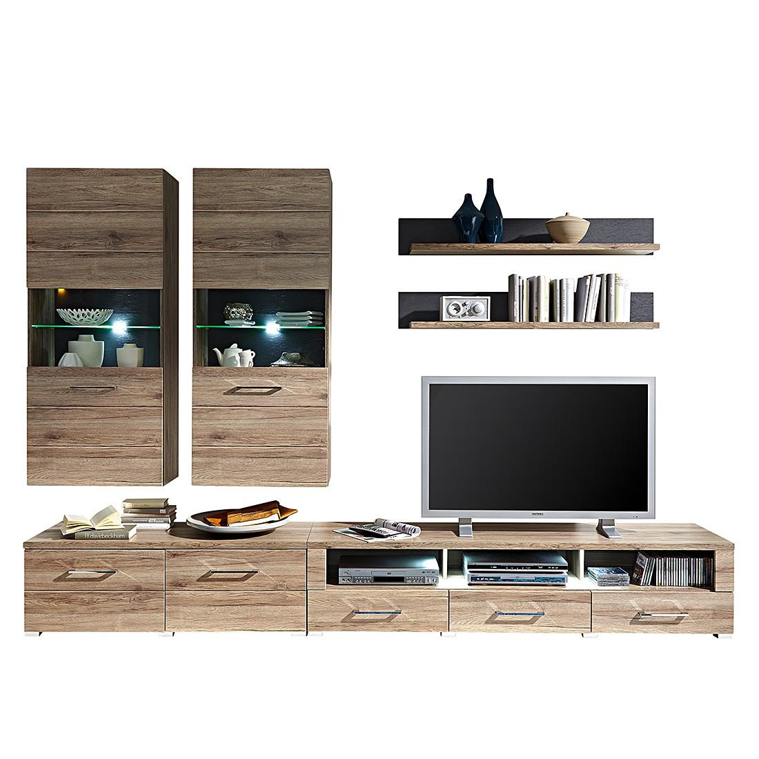 wohnwand adorno ii 6 teilig inkl beleuchtung san. Black Bedroom Furniture Sets. Home Design Ideas