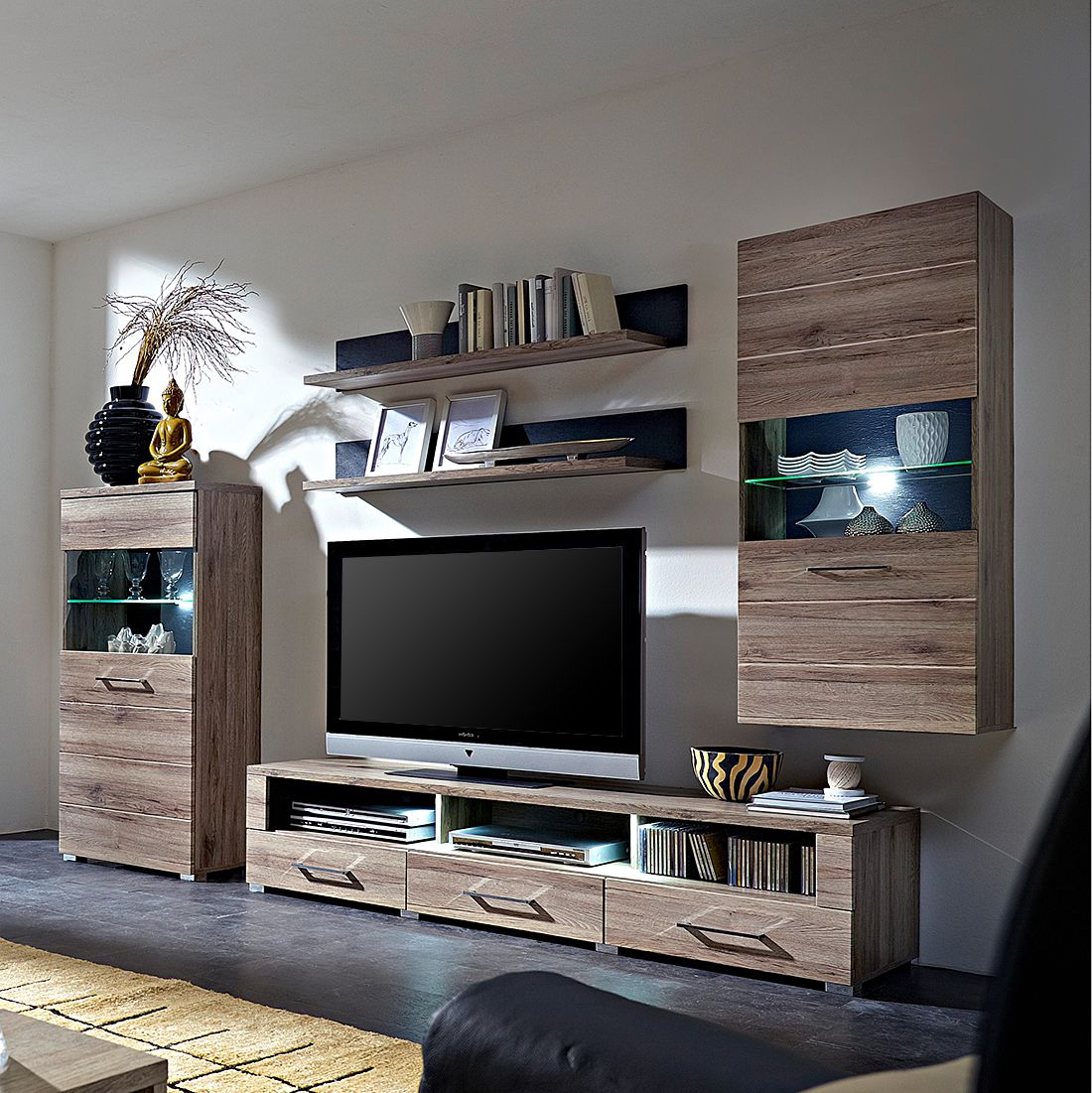 wohnwand adorno iii 5 teilig san remo eiche dekor schiefer dekor. Black Bedroom Furniture Sets. Home Design Ideas