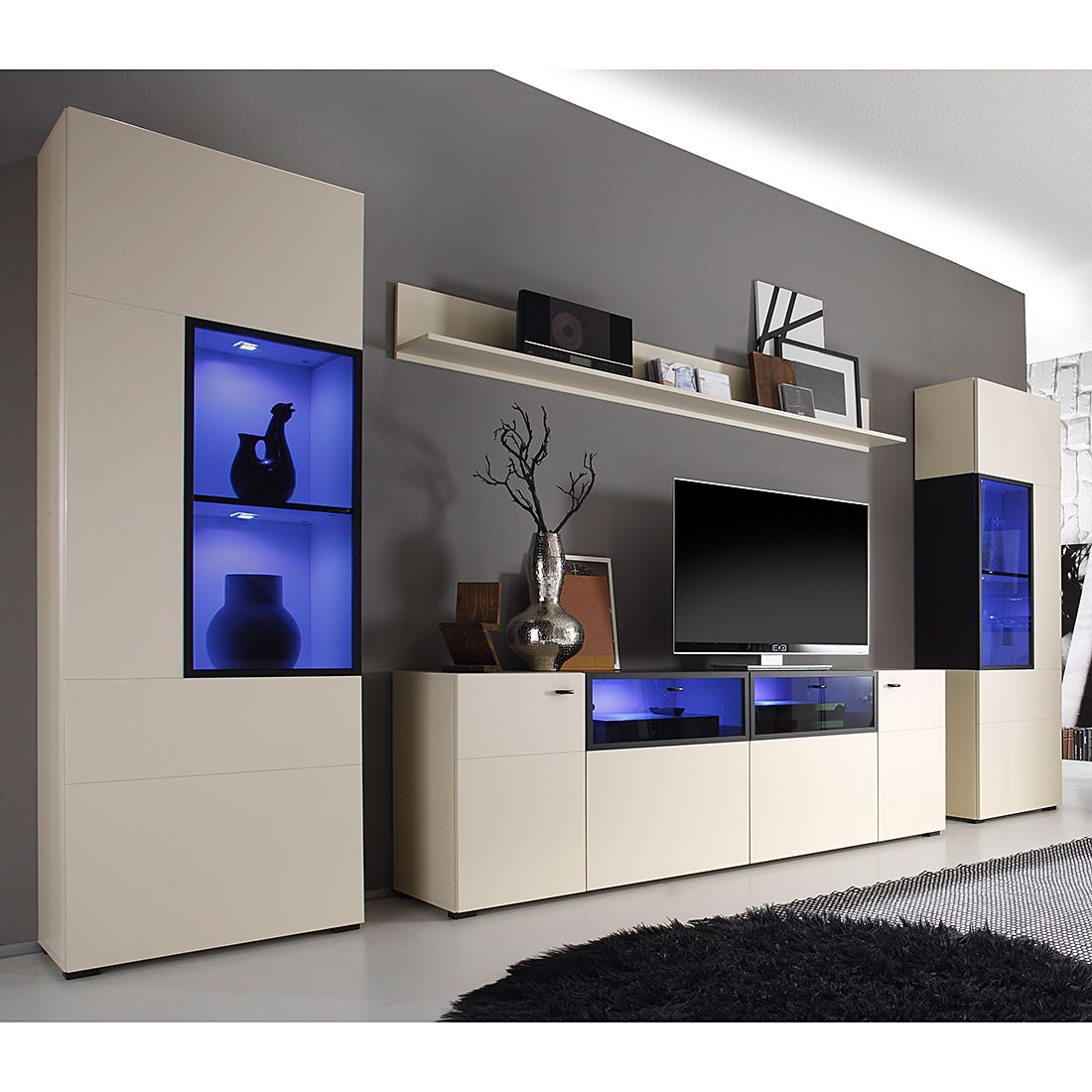 eek a wohnwand aira ii 4 teilig matt beige mit beleuchtung roomscape g nstig online kaufen. Black Bedroom Furniture Sets. Home Design Ideas
