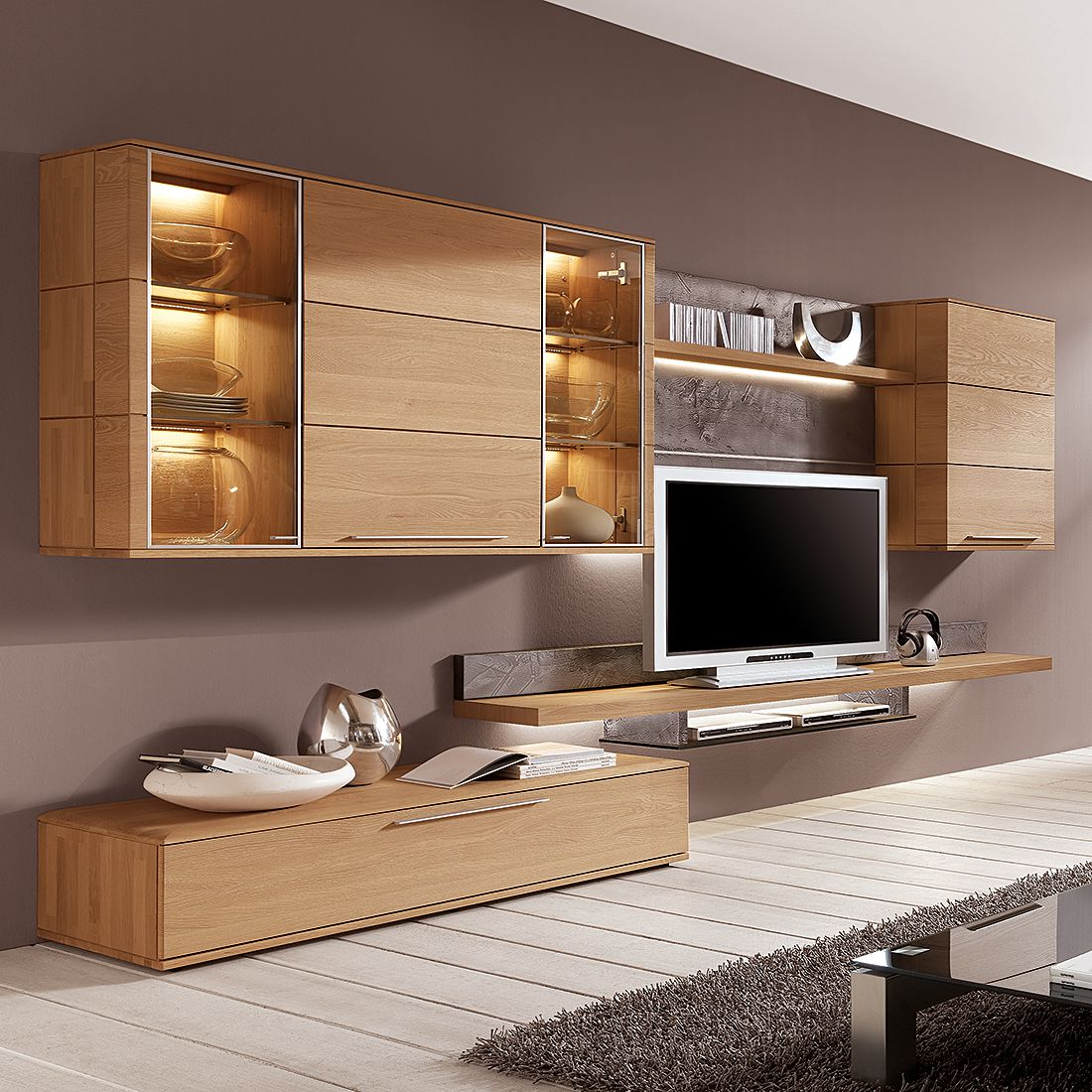wohnwand alano ii 5 teilig eiche massiv ohne. Black Bedroom Furniture Sets. Home Design Ideas