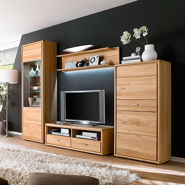 wohnwand angolo i 4 teilig buche teilmassiv ge lt. Black Bedroom Furniture Sets. Home Design Ideas