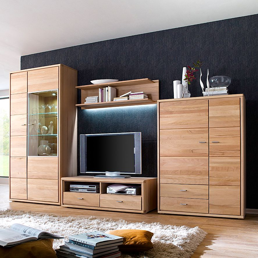 wohnwand angolo iii 4 teilig buche teilmassiv ge lt. Black Bedroom Furniture Sets. Home Design Ideas