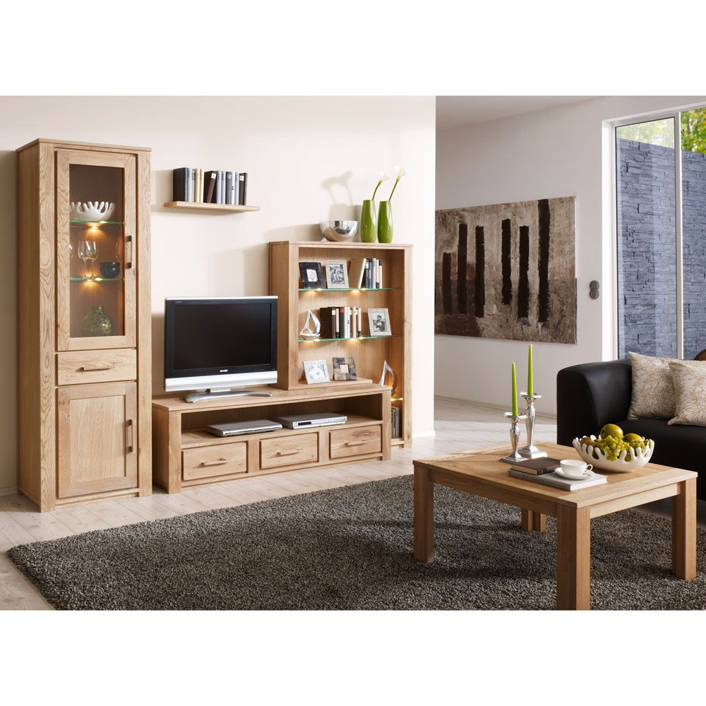 wohnwand atlantis 4 teilig wildeiche massivholz ge lt ausf hrung mit beleuchtung. Black Bedroom Furniture Sets. Home Design Ideas