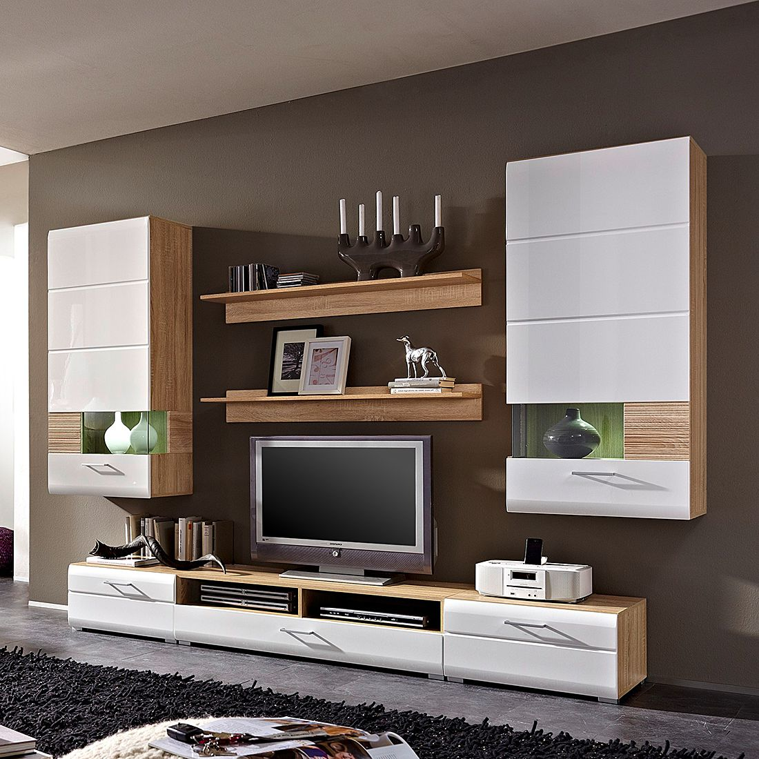 wohnwand avida i 7 teilig sonoma eiche dekor wei hochglanz. Black Bedroom Furniture Sets. Home Design Ideas