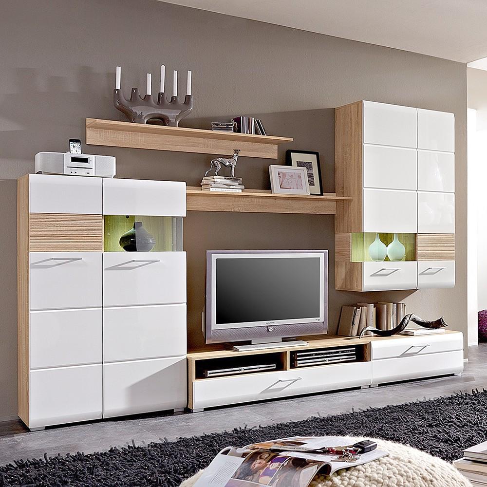 eek a wohnwand avida ii 6 teilig inkl beleuchtung. Black Bedroom Furniture Sets. Home Design Ideas