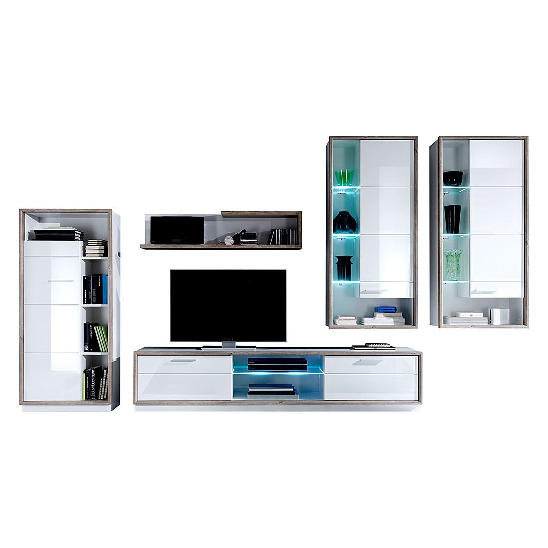 wohnwand bacara i 5 teilig inkl beleuchtung wei hochglanz. Black Bedroom Furniture Sets. Home Design Ideas