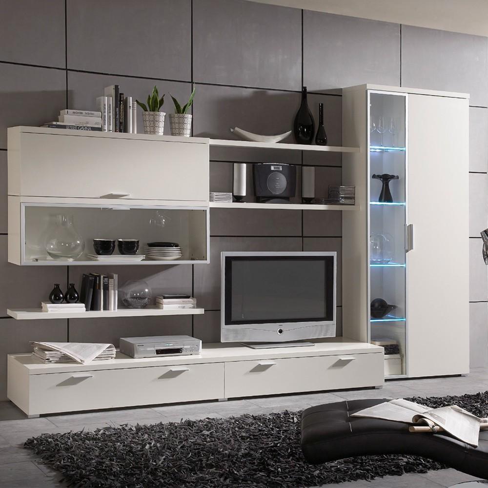 wohnwand baltrum 7 teilig wei lack. Black Bedroom Furniture Sets. Home Design Ideas