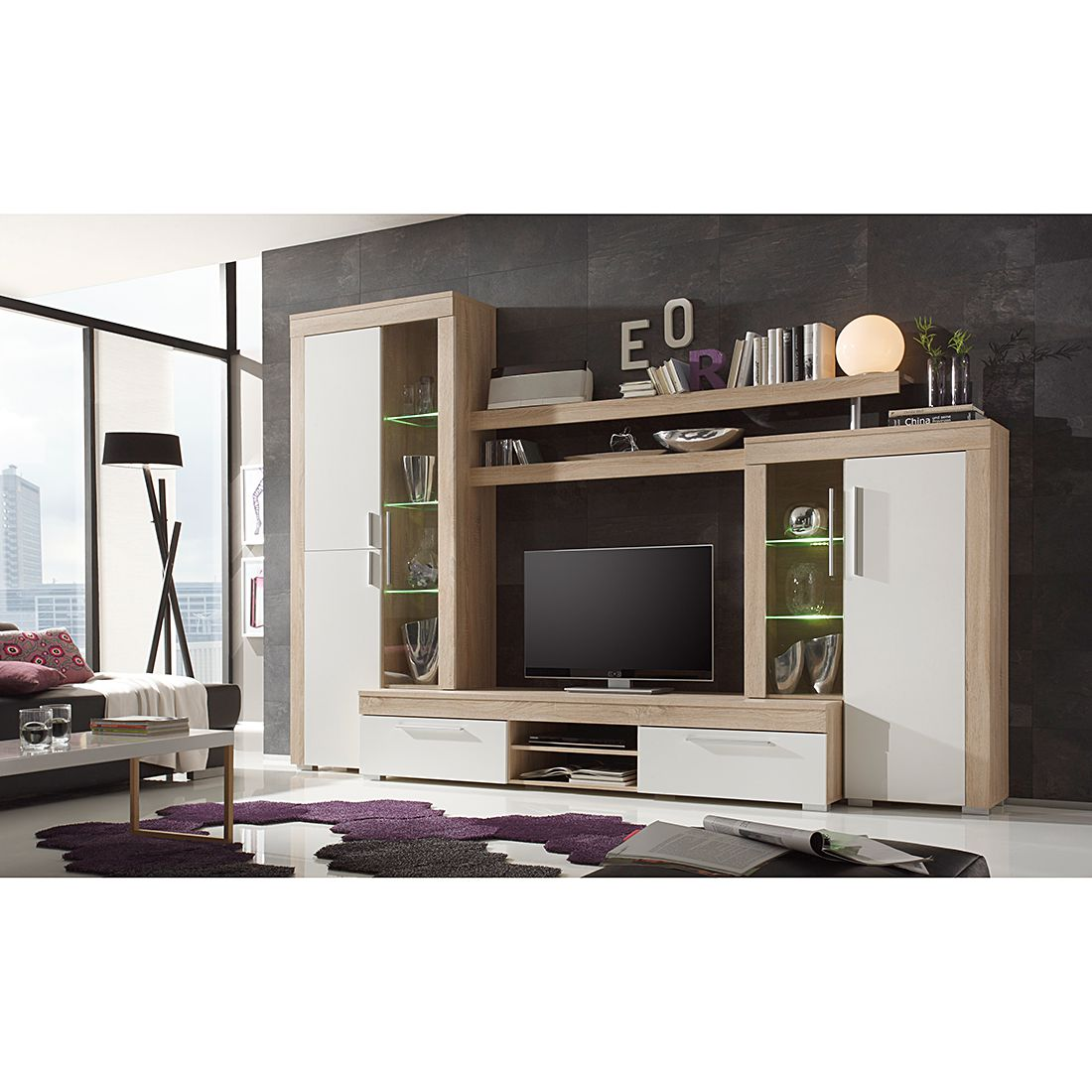 wohnwand bang 4 teilig inkl beleuchtung eiche. Black Bedroom Furniture Sets. Home Design Ideas