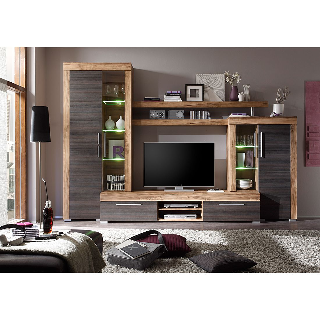 wohnwand bang 4 teilig inkl beleuchtung nussbaum satin dunkelbraun touchwood dekor. Black Bedroom Furniture Sets. Home Design Ideas