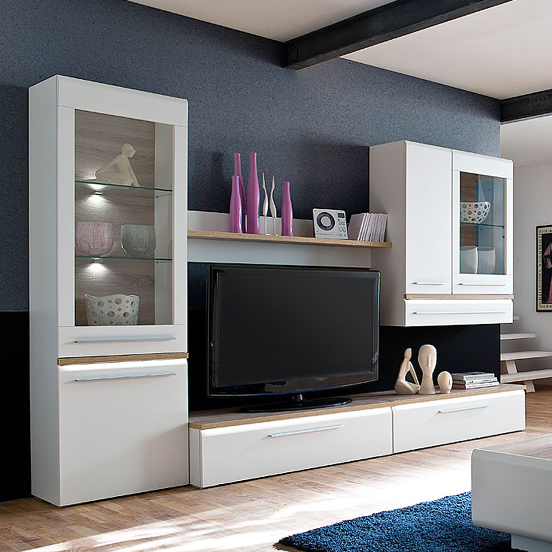 wohnwand barry ii 5 teilig inklusive beleuchtung super matt wei. Black Bedroom Furniture Sets. Home Design Ideas