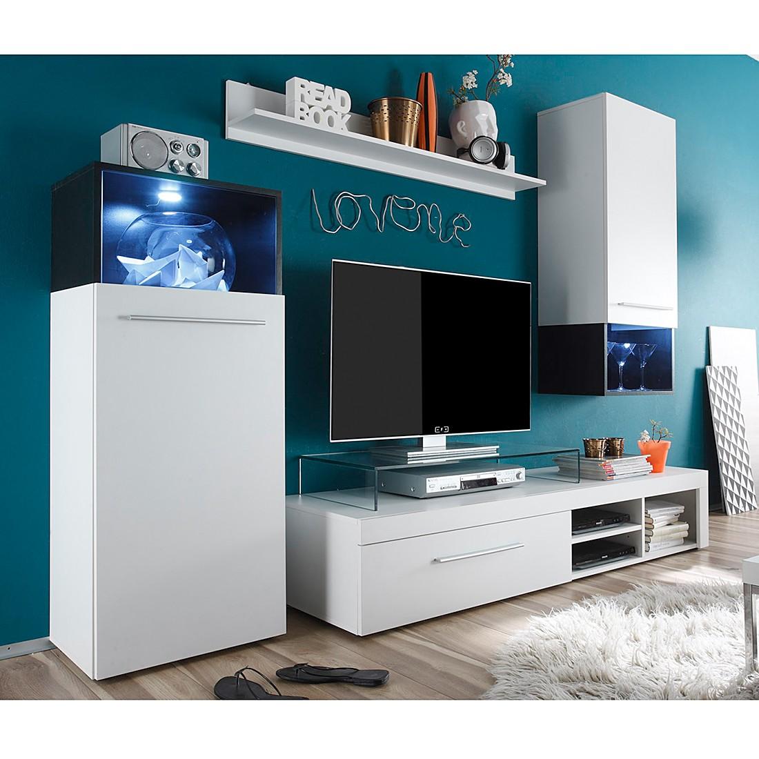 EEK A+, Wohnwand Basit (4-teilig) – inklusive Beleuchtung – Weiß, roomscape günstig bestellen