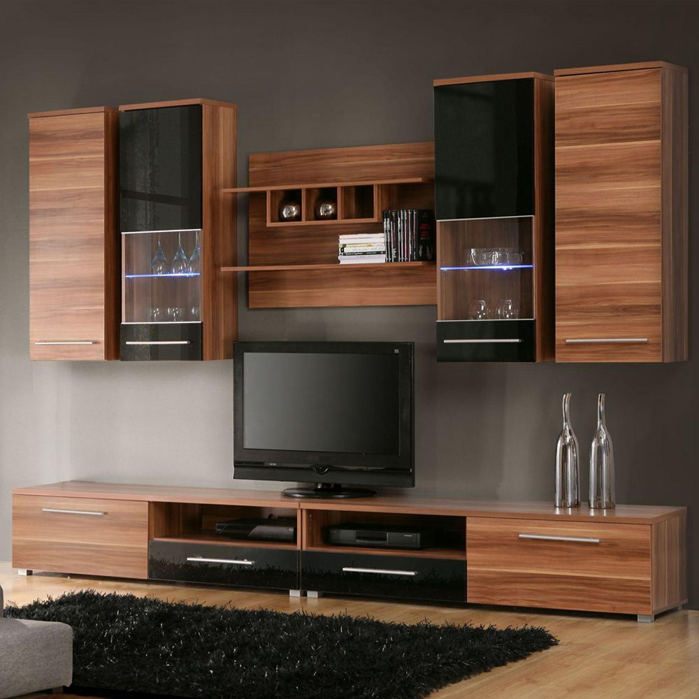 wohnwand beryl 7 teilig walnuss dekor schwarz hochglanz mit glasbodenbeleuchtung schrank. Black Bedroom Furniture Sets. Home Design Ideas