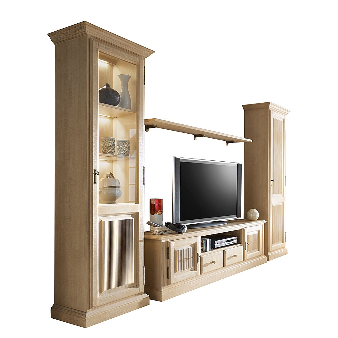 eek a wohnwand breddin 4 teilig i pinie massiv mit beleuchtung landhaus classic kaufen. Black Bedroom Furniture Sets. Home Design Ideas