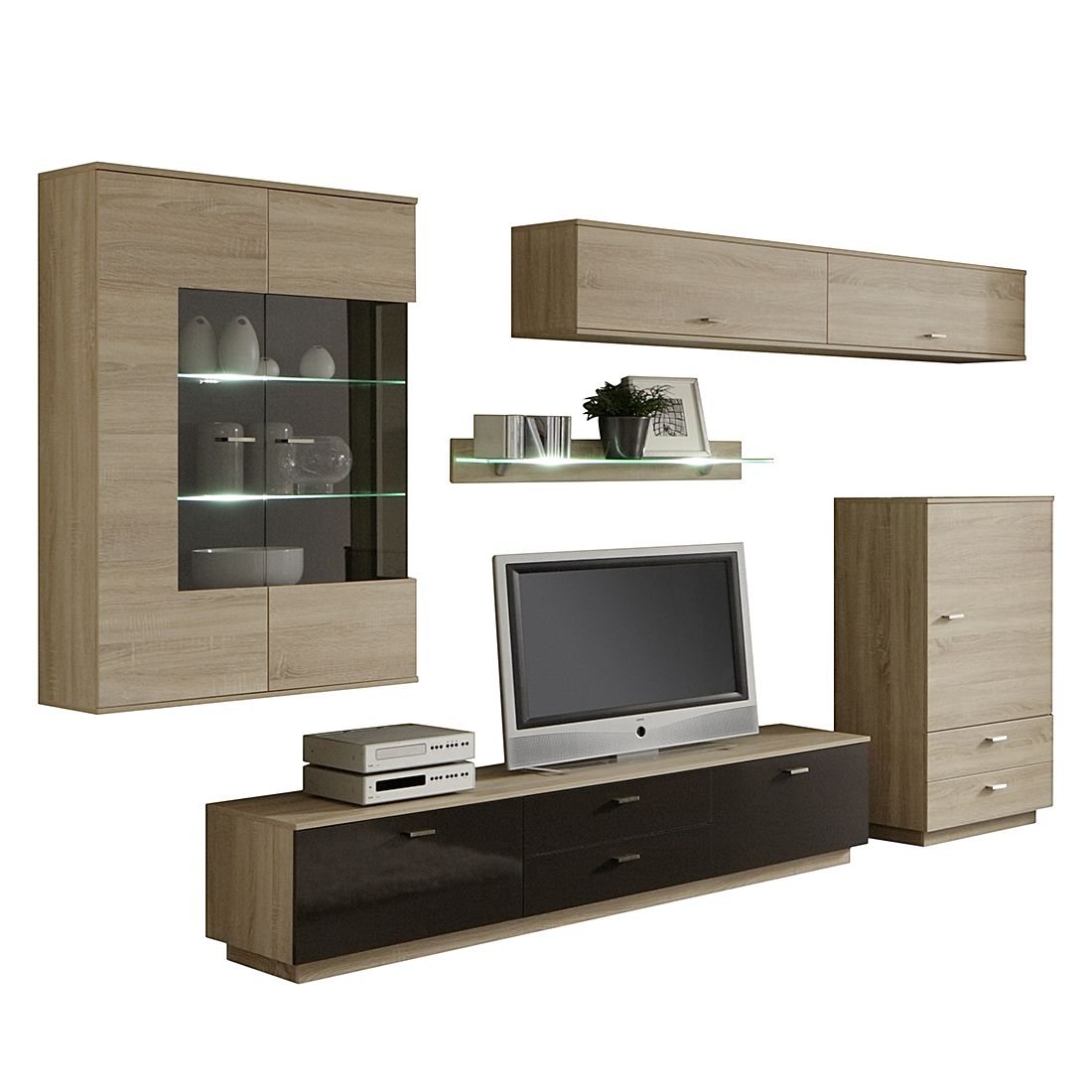wohnwand br gge i eiche s gerau dekor absetzung. Black Bedroom Furniture Sets. Home Design Ideas