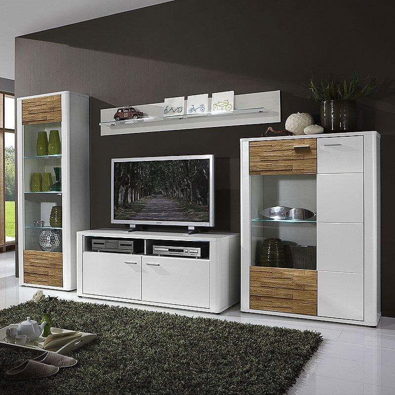 Wohnwand CANDO (4 Teilig)   In Weiß Mit Spaltholz Massiv, Modell 2