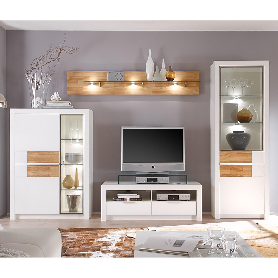 wohnwand cantano ii 4 teilig wei eiche furnier wohnwand 4 teilig ohne beleuchtung tv. Black Bedroom Furniture Sets. Home Design Ideas