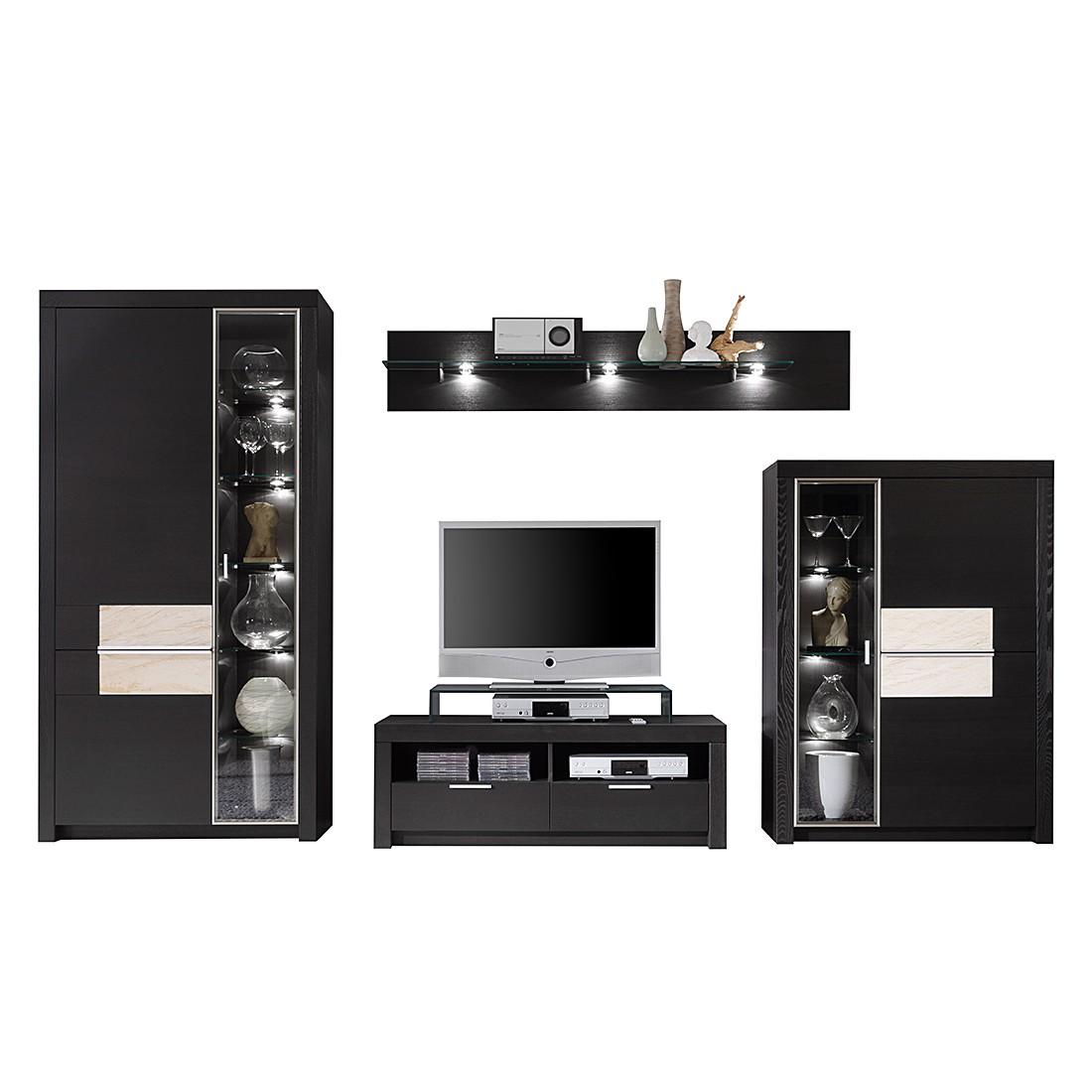 wohnwand cantano iii 4 teilig esche schwarz sandstein wohnwand 4 teilig ohne. Black Bedroom Furniture Sets. Home Design Ideas
