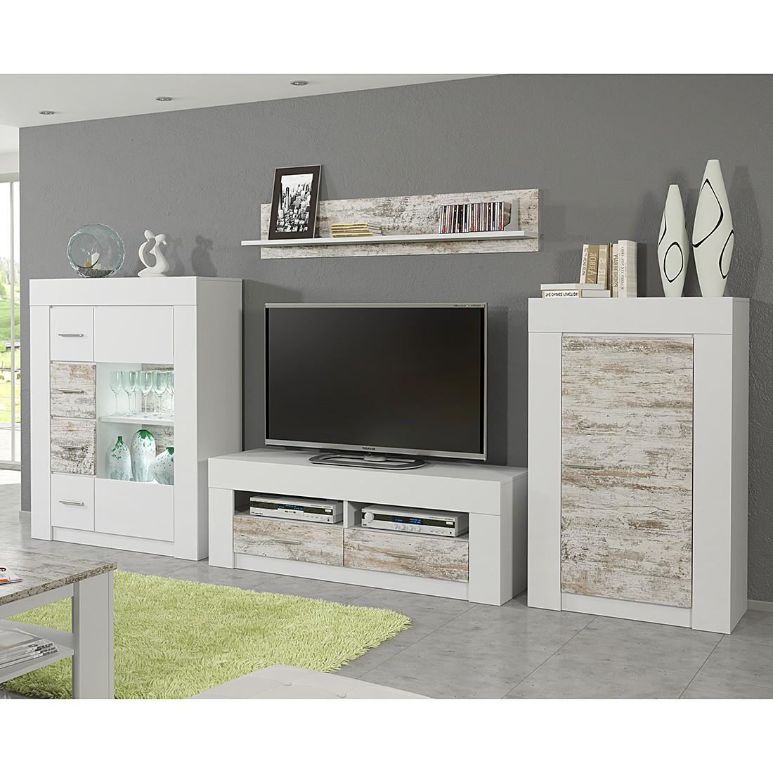 wohnwand cast ii 4 teilig wei white kiefer dekor ohne beleuchtung modoform bestellen. Black Bedroom Furniture Sets. Home Design Ideas