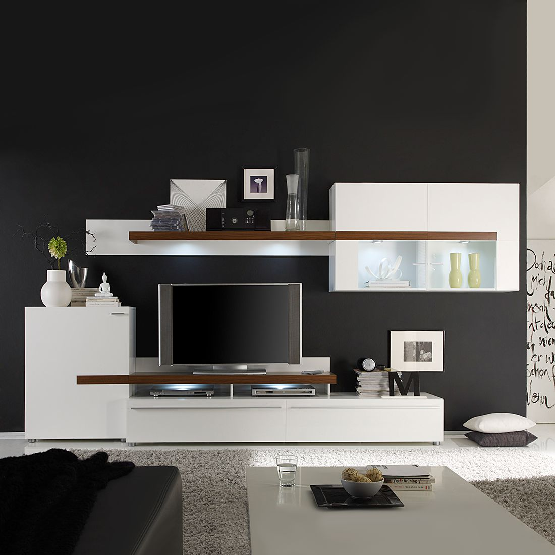 wohnwand cello 5 teilig wei walnuss dekor. Black Bedroom Furniture Sets. Home Design Ideas